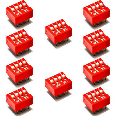 New 10Pcs DIP Red 2.54mm Pitch 8 Pins 4 Positions Ways Slide Type Switchs