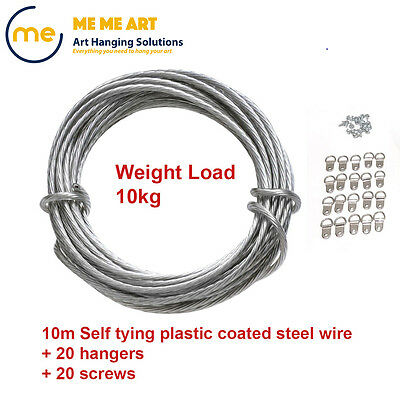 Picture Framing Hanging Set - Picture Hanging Wire 10m + D rings 20 + Screws 20