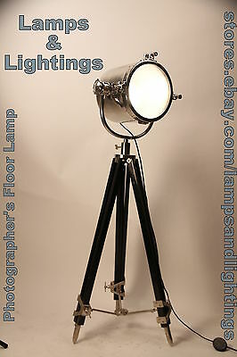 POTTERY BARN Photographer's Tripod Floor Lamp, Chrome Look Nautical Floor Lamp
