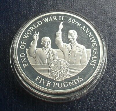 2005 GUERNSEY £5 END OF WORLD WW11 60th ANNIVERSARY SILVER PROOF COIN