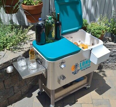 Stainless Steel Rolling Cooler 94.6 Litre (100 US Quart) Drinks Chiller Party