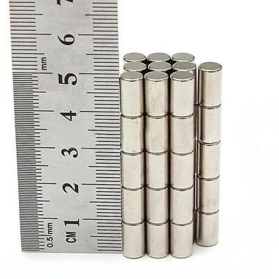 50x N52 Strong Round Disc Cylinder NeFeB 6mm x 10mm Rare Earth Magnets