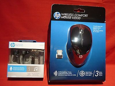 Hp Wireless Comfort Mouse X3500 New In Pack With H2310 Headphones Genuine