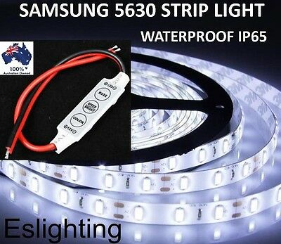 5M 5630 Flexible 12V Dc Dimmable Waterproof Led Strip Light Cool White + Dimmer