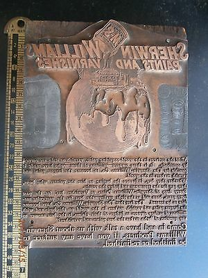 Letterpress Printing Block Sherwin Williams Paint Ad Pre 1900 Copper On Wood