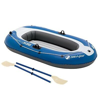 INFLATABLE BOAT 2-Person With PUMP, REPAIR kit, Paddle and Bag - KIDS and Adults