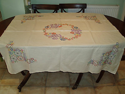 "VINTAGE  HAND EMBROIDERED  TABLE CLOTH  4'1"" x 4'3"""