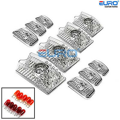 10PC Euro Clear/Chrome Roof Top Cab Cargo Parking Light Lamp for 02-09 Hummer H2