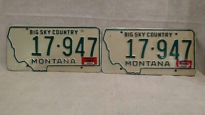 1968 Off Center Stamped Montana License Plate Set