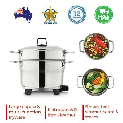Stainless Steel Vegetable Steamer Electric Pot Kitchen Cookware Sunbeam