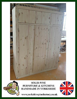 Limited offer Retro Art Deco Handmade Solid Pine Triple Wardrobe with top box
