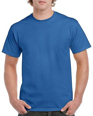 BLUE GILDAN Men's Plain 100% Cotton Blank T-shirt Basic Tee sizes S - 2XL New