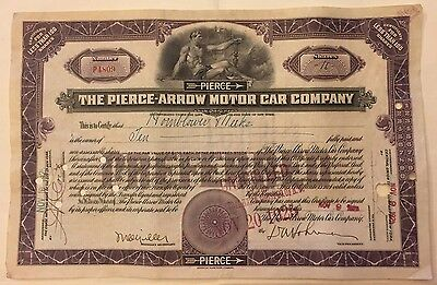 1925 Pierce-Arrow Motor Car Co. Stock Certificate RARE EARLY PURPLE Only 1