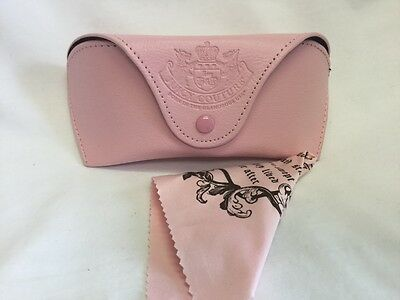 Juicy Couture Eyeglass Sunglass Case Pink Cleaning Cloth New