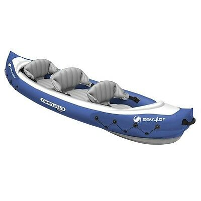INFLATABLE KAYAK 3Person With PUMP, REPAIR kit, Paddle and Bag - KIDS and Adults