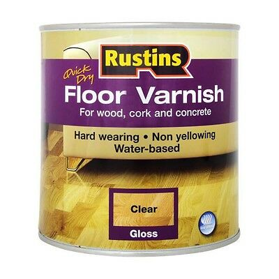 Rustins Quick Dry Floor Varnish Gloss Clear 1 Litre Acrylic