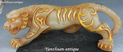 """13""""China Fengshui Jade Gilt Hand Carving Tiger Tigers Zodiac Year Animal Statue"""