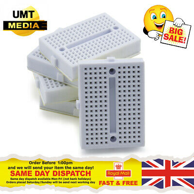 5pcs 5x WHITE Mini 170 Tie Point Solderless Breadboard Prototype Arduino PIC PI