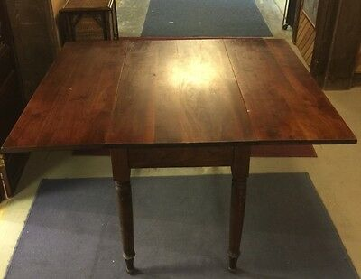 Antique American Black Walnut Country Drop leaf Dining Table