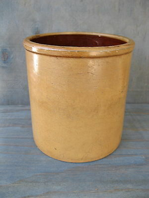 Antique Crock Primitive Stoneware Pottery,1 Gallon Circa 1890, Orange Tan Glazed