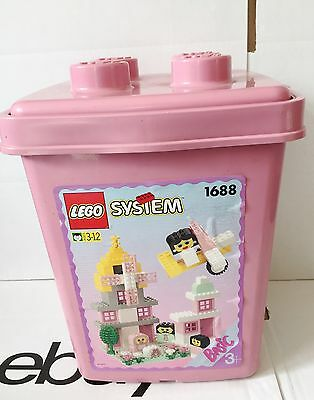 VINTAGE LEGO TUB 1688 - Storage. 100% Complete. Pink Grey White. Tree. Fences.