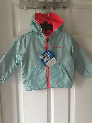 Columbia Infant Girls Coat Jacket Hooded Mint Green Pink 18-24 Months NEW $65!