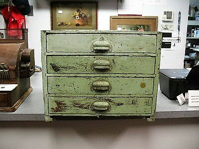 Antique Hardware Store Four Drawer Cabinet With Green Paint Original Iron Pulls