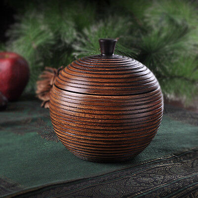 Retro Round Wooden Tea Box tea caddy storage jar