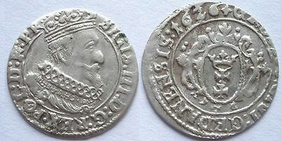 Poland Lithuania 1 grosch 1626 minted in Gdansk Ancient Medieval Silver Coin