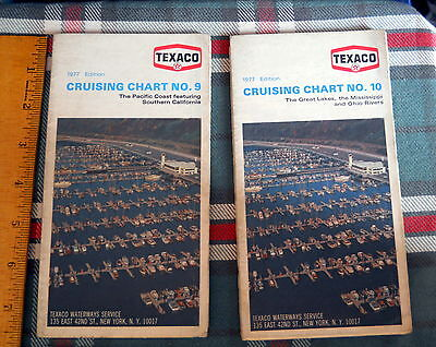 Vintage 1977 Texaco Gas & Oil Cruising Chart No.9 & No.10 PACIFIC & GREAT  LAKES