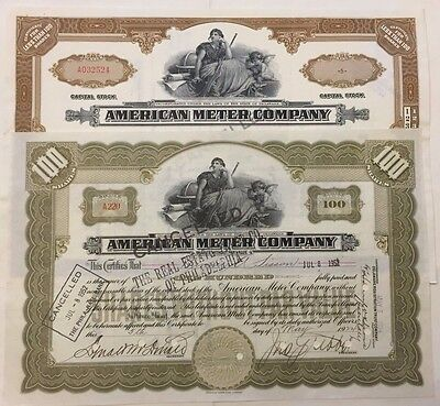 Pair of American Meter Company Stock Certificates Early Gas Light Meters 1924