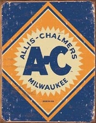 Allis Chalmers Logo Tractor Farm Plow Distressed Retro Vintage Metal Tin Sign