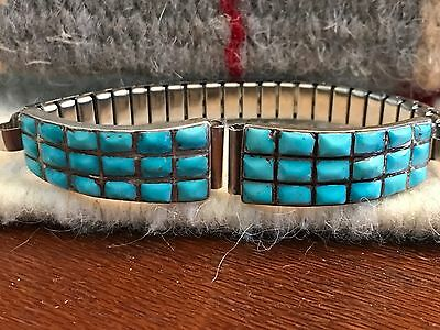 Vintage Zuni Sterling Silver And Turquoise Channel Inlay Watch Tips