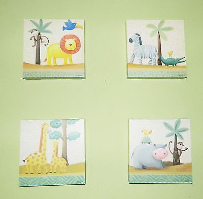 Set of 4 ZOO ANIMALS Baby Nursery Children Wall Art Prints Decor Pictures
