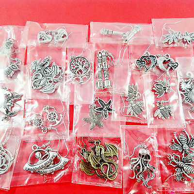 19pairs CHARM EARRINGS - DR WHO, DRAGONS + more - ideal for car boot / market