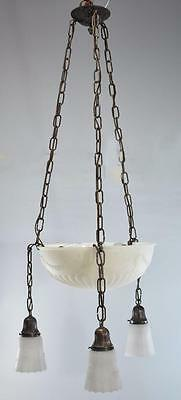 Neo Classic 6 Light - 3 Arm  Dome White Frosted Glass Chandelier