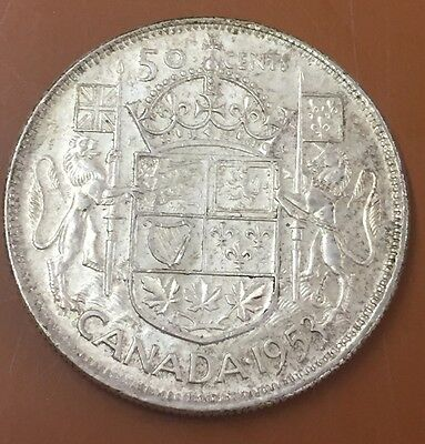 1953 Small 3 Canada Silver Half Dollar 50 Cent Cents Canadian