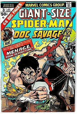 GIANT-SIZE SPIDER-MAN #3 (VF+) DOC SAVAGE! 1975 Classic Bronze-Age Issue! Marvel