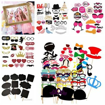 Party Photo Booth Prop Mustache Hat Glasses Stick Frame Wedding Birthday Selfie