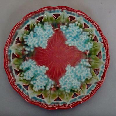 Antique Villeroy Boch Schramberg Germany Pink Pierced Majolica Lilac Plate Small