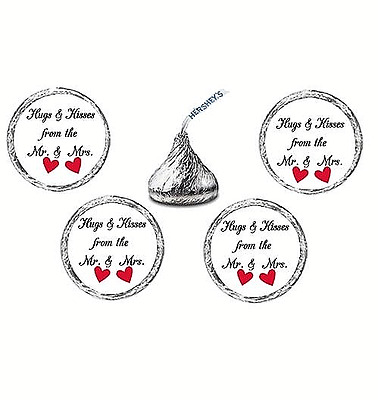 216 Hugs and Kisses From the Mr & Mrs Hearts Labels Stickers Favors wedding