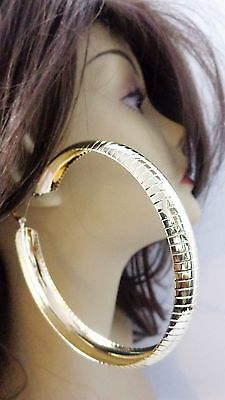 Large 4 Inch Hoop Earrings Thick Lined Gold Or Silver Tone