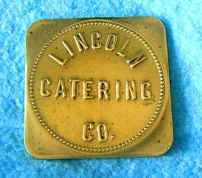 Vintage Brass Trade Token: LINCOLN CATERING CO; Lincoln, Rhode Island