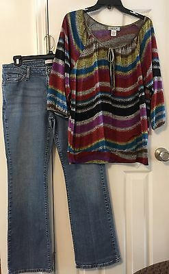 Women's Size 14 M Levi's Jeans & Top Size XL By Vintage Susie Lot Of 2