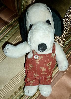 "Vintage 1958 Snoopy Soft Plush Stuffed Animal in Overalls, 11"", Peanuts Gang"