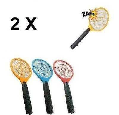 2 X New Fly Bug Zapper Bats 2 Electric Fly Swatters Flying Insect Zap Bat Swat