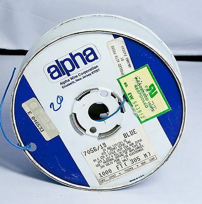 "Vintage Alpha Wire 7055/19 22 AWG Blue 1000"" Partial Roll"