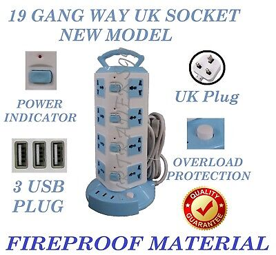 16 Plug Tower Socket Protected 3M Extension Lead Main Plug With 3 USB Port Blue