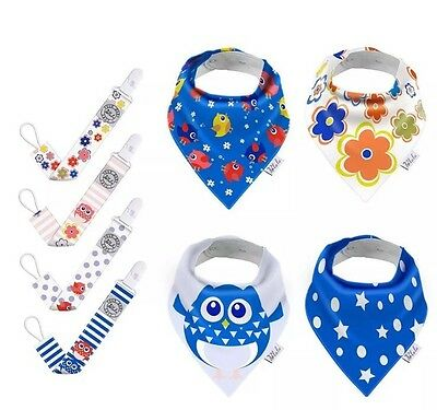 8 Pcs Set Quality Blulu Baby Drool Bibs Pacifier Clips Leash Strap Holder Lots