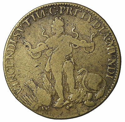 French King Louis XIIII The Grand Brass Jeton Token Medal F.12470